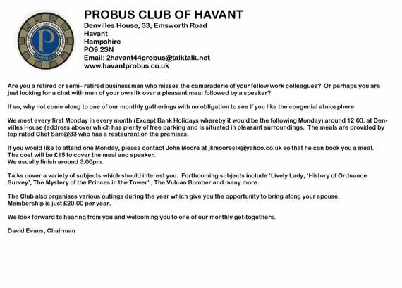 Probus advert for members