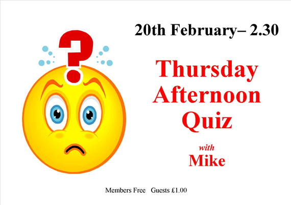 Thursday afternoon Quiz
